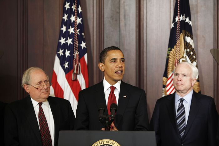 AP **FILE**  President Barack Obama, flanked by Sen. Carl Levin, D-Mich., (left) and Sen. John McCain, R-Ariz., discusses government contracts reform at the Eisenhower Executive Office Building.