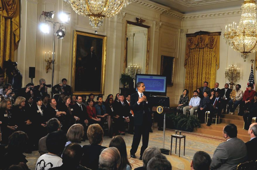 Rod Lamkey Jr./The Washington Times ONLINE: President Obama fields questions from the public both on the Internet and in person during a special town-hall-style meeting Thursday in the East Room of the White House, where one of the top topics was the legalization of marijuana.