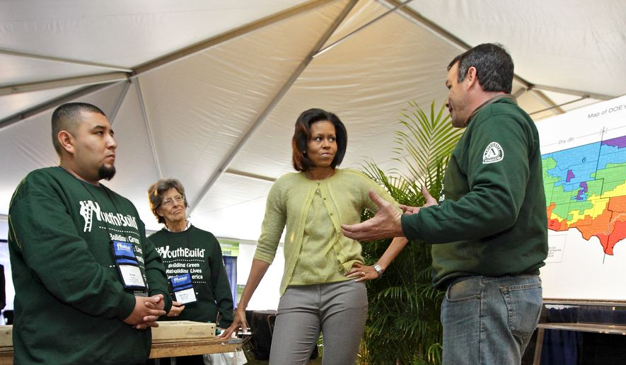 First lady Michelle Obama visits students with the YouthBuild AmeriCorps community service program who gathered on the National Mall in Washington to celebrate their 30th anniversary by building an affordable, energy-efficient house, in Washington, Tuesday, March 17, 2009. She is joioned at rear by YouthBuild's founder, Dorothy Stoneman. (AP Photo/J. Scott Applewhite)