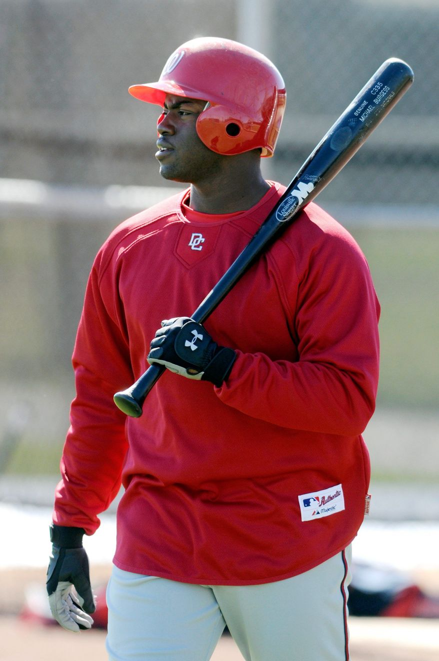 Michael Burgess of the Washington Nationals prepares for batting practice in the accelerated program at spring training in Viera, Fl., Thursday, February 28, 2008. (Peter Lockley / The Washington Times)