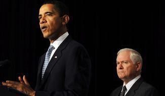 President Obama and Secretary of Defense Robert Gates (Astrid Riecken/The Washington Times)
