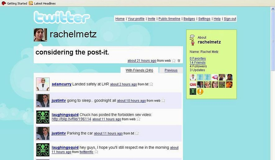 A Twitter screen shot shows the short-message social networking site.