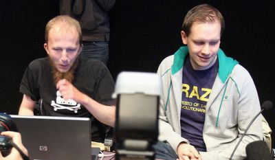 Gottfrid Svartholm Warg (left) and Peter Sunde were found guilty in a Stockholm courtroom Friday along with two other defendants from the Internet file-sharing hub the Pirate Bay of promoting copyright infringement. They were ordered to pay $3.6 million in damages and each was sentenced to one year in prison. (Agence France-Presse/Getty Images)