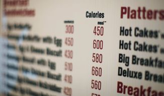 **FILE** This photo from July 18, 2008, shows a McDonalds drive-thru menu in New York printed with calorie counts for each food item. (Associated Press)