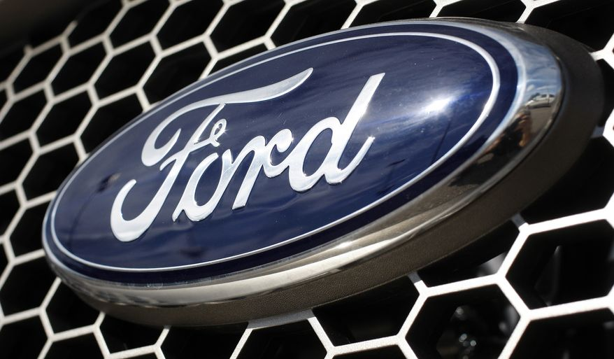 The blue oval logo of the Ford Motor Co. (AP Photo/David Zalubowski)