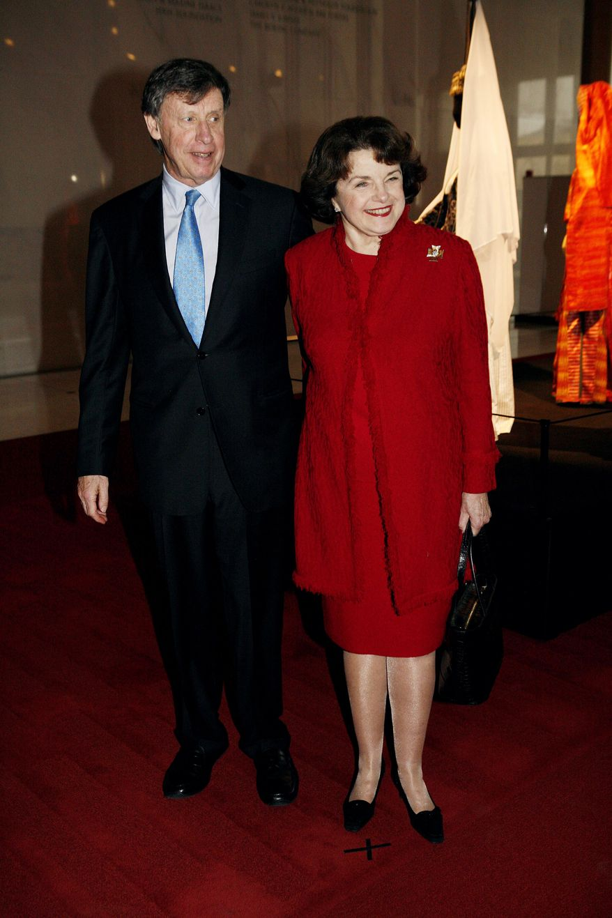 **FILE** Sen. Dianne Feinstein and husband Richard Blum (Katie Falkenberg/The Washington Times)