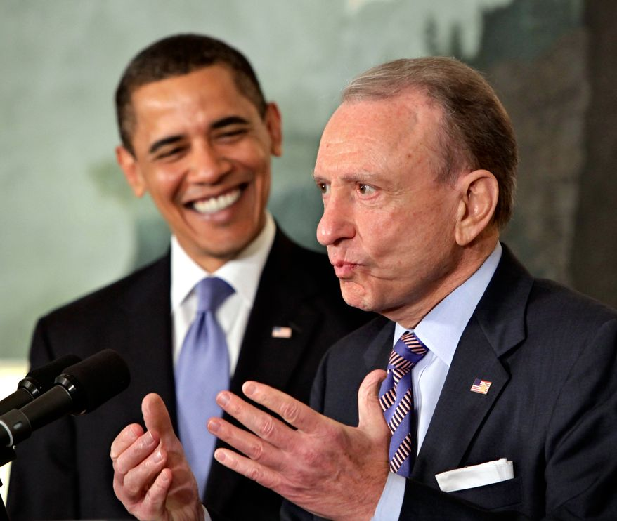 "Veteran Senator Arlen Specter of Pennsylvania discusses his switch to the Democratic Party at the White House with President Barack Obama, left, in Washington, Wednesday, April 29, 2009. Specter said ""I think that I can be of assistance to you, Mr. President. ... There are a lot of big issues we're tackling now that I've been deeply involved in."" (AP Photo/J. Scott Applewhite)"