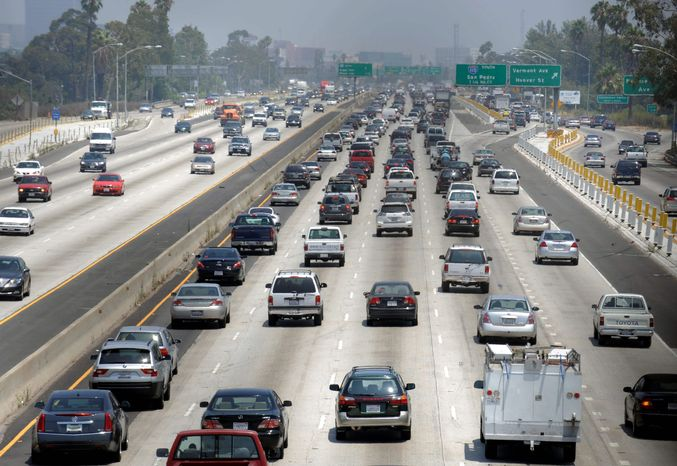 ** FILE ** Traffic stacks up on the eastbound Santa Monica Freeway in Los Angeles in May 2009. (AP Photo)