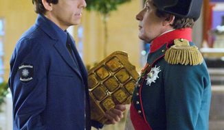 "ASSOCIATED PRESS Smithsonian security guard Larry Daley (Ben Stiller) confronts Napoleon Bonaparte (Alain Chabat) in the new film ""Night at the Museum: Battle of the Smithsonian."""