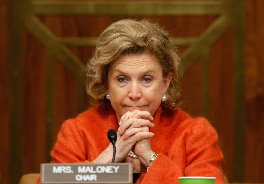 Rep. Carolyn B. Maloney listens to testimony on employment at a hearing of the Joint Economic Committee, which she chairs. Her friend Gloria Steinem wants to know about her efforts for women. (Getty Images)