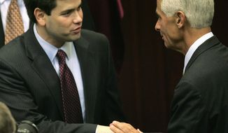 ASSOCIATED PRESS Former Florida House Speaker Marco Rubio (left) and Gov. Charlie Crist were cordial to each other earlier this month, but some supporters of Mr. Rubio's Senate bid are angry at the NRSC for favoring Mr. Crist.