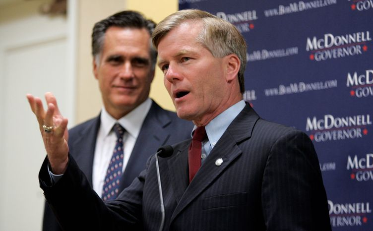 ** FILE ** Former Massachusetts Gov. Mitt Romney (left) with then-Virginia gubernatorial hopeful Bob McDonnell in May 2009.