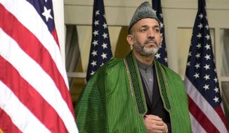 ** FILE ** Afghan President Hamid Karzai (The Washington Times)