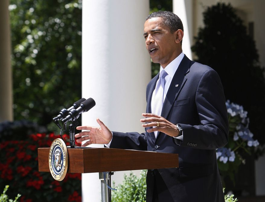 **FILE** President Obama delivers remarks in the Rose Garden of the White House on June 12, 2009. (Associated Press)