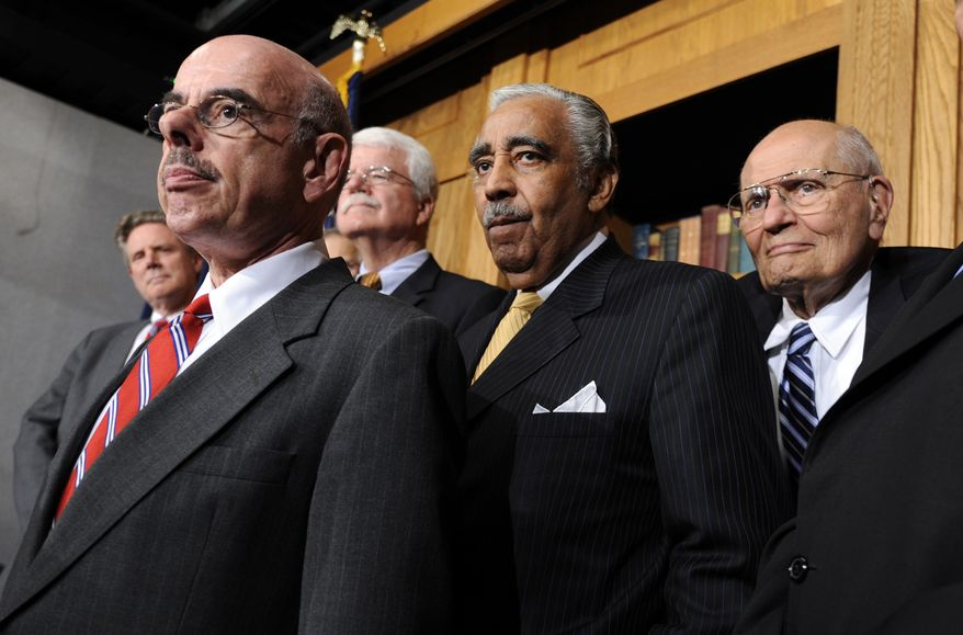 **FILE** From left, Rep. Frank Pallone Jr., D-Fla., Rep. Henry Waxman, D-Calif., House Education and Labor Committee Chairman Rep. George Miller, D-Calif., House Ways and Means Committee Chairman Rep. Charles Rangel, D-N.Y., and House Energy and Commerce Committee Chairman Rep. John Dingell, D-Mich., take part in health care news conference on Capitol Hill in Washington, Friday, June 19, 2009. (AP Photo/Susan Walsh)