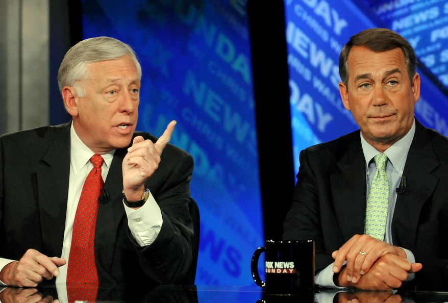 "In this photograph provided by ""Fox News Sunday,"" Rep. Steny H. Hoyer (left), Maryland Democrat, and Rep. John A. Boehner, Ohio Republican, appear on ""Fox News Sunday"" from the channel's studios in Washington on Sunday. (Associated Press/""Fox News Sunday,"" Freddie Lee)"