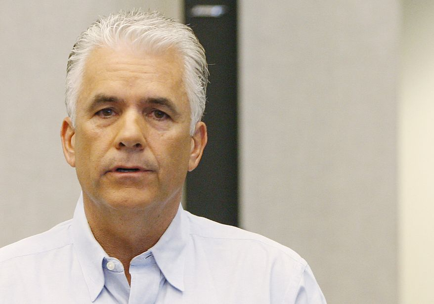 **FILE** Sen. John Ensign, R-Nev. speaks at a news conference at the Lloyd D. George Federal building June 16 in Las Vegas. (Associated Press)