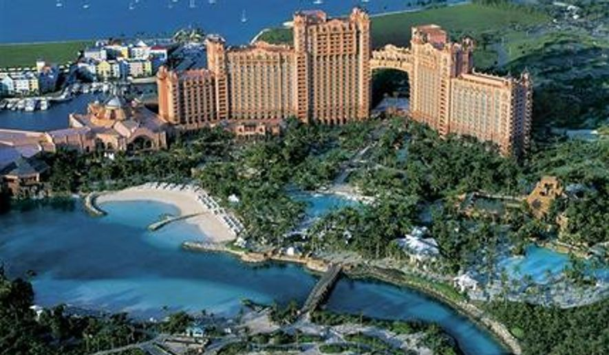 """""""People of all walks of life, including celebrated personalities, are drawn to the islands of the Bahamas for picture-perfect weddings. The setting really does it,"""" Tourism Ministry Director-General Joy Jibrilu said in a statement reported by Fox News. This undated AP file photo shows the Atlantis resort in the Bahamas."""