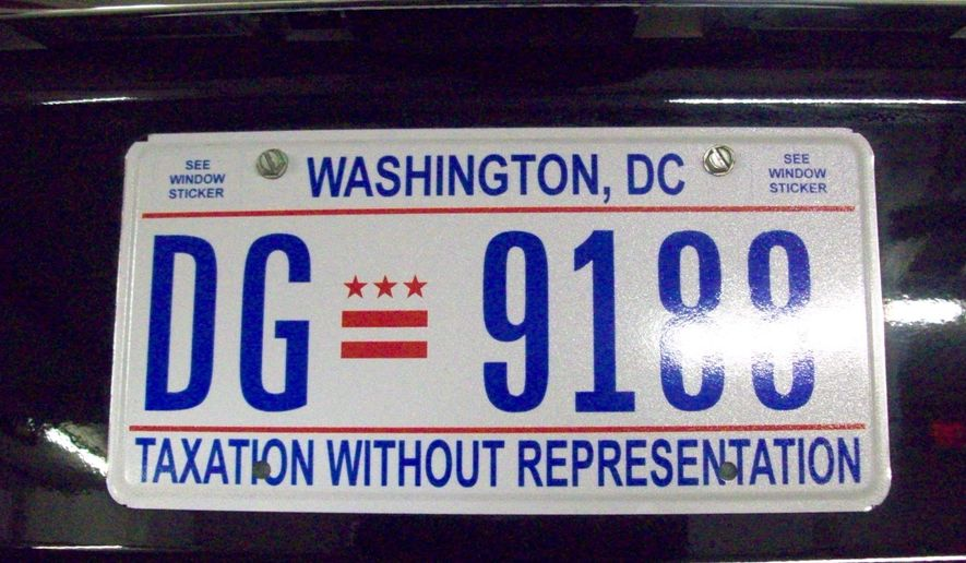 """Then-RNC Chairman Michael Steele had the D.C. license plate with the tag line """"Taxation without Representation"""" on his RNC vehicle. (Photo courtesy of the Republican National Committee) ** FILE **"""
