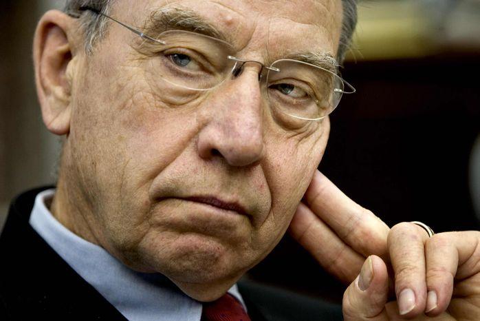 ** FILE ** Sen. Chuck Grassley, Iowa Republican (Associated Press)