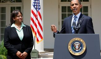 ** FILE ** President Obama introduces his nominee for surgeon general, Dr. Regina M. Benjamin of Alabama, in the White House Rose Garden in 2009.