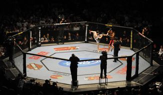 Tamdan McCrory throws a kick at John Howard during UFC 101. (Peter Lockley/The Washington Times)