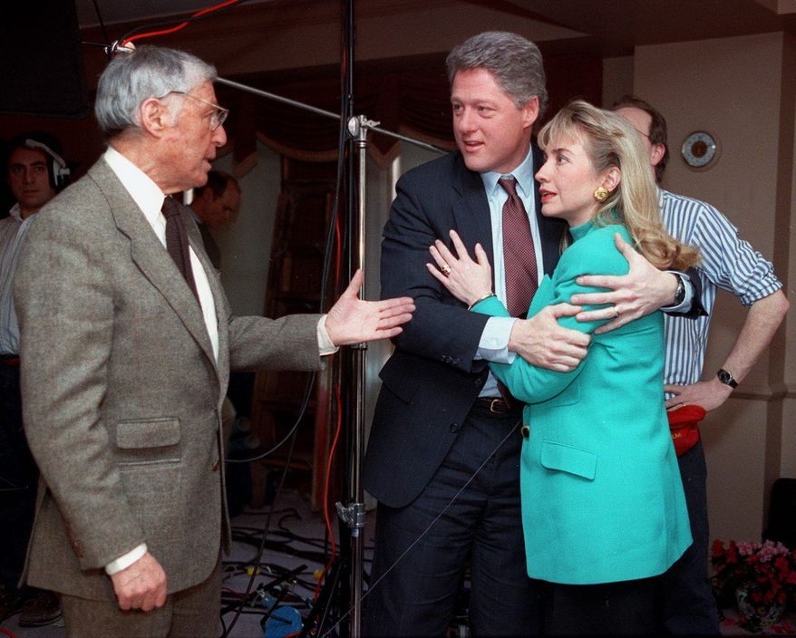 Mr. Hewitt speaks with Democratic presidential candidate Bill Clinton, then governor of Arkansas, and his wife, Hillary Rodham Clinton, in 1992 during an interview break. The news executive died Wednesday of pancreatic cancer.