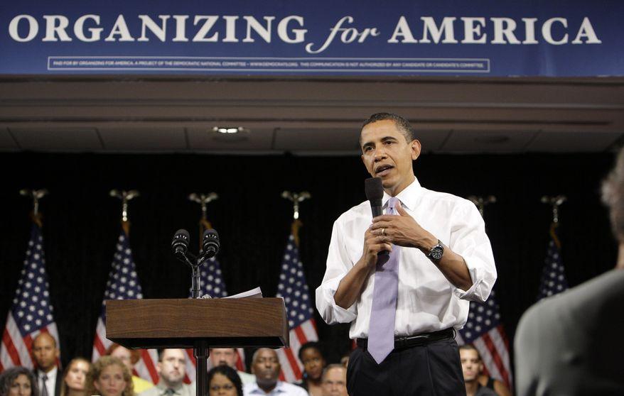 President Barack Obama speaks Thursday during the Organizing for America National Health Care Forum in Washington. (Associated Press)