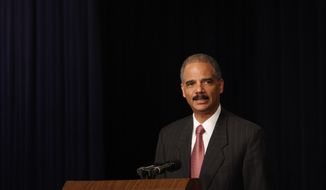 Attorney General Eric Holder delivers the keynote address Monday at the White House Conference on Gang Violence Prevention and Crime Control at the Eisenhower Executive Office Building on the White House campus. (Associated Press)