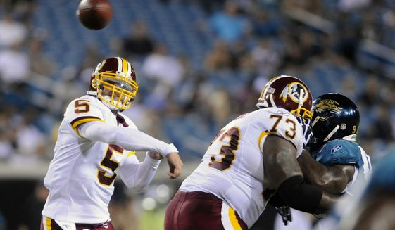 Redskins Colt Brennan (5) throws against the Jacksonville Jaguars during a preseason game. (Peter Lockley / The Washington Times) **FILE**