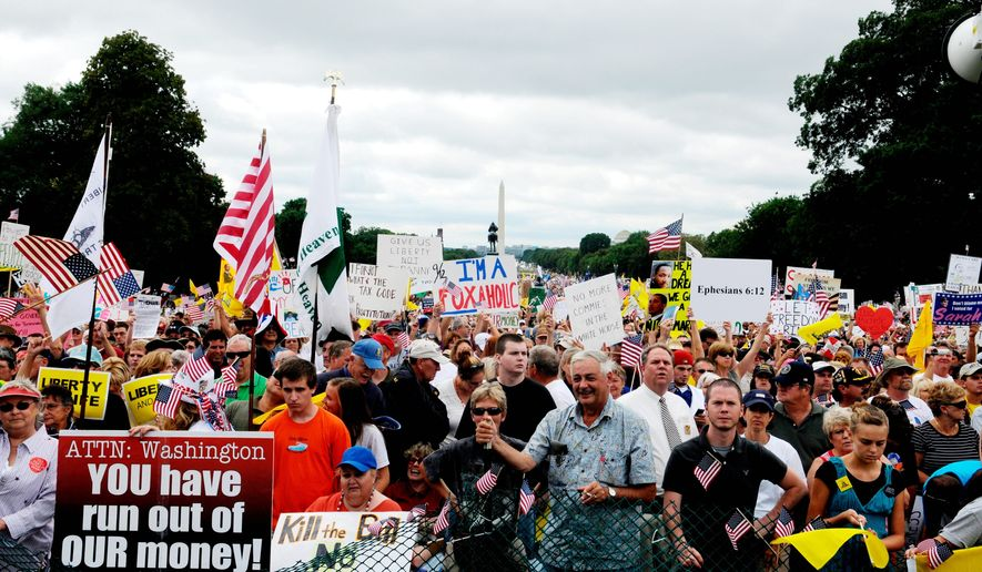 "**FILE** An enormous crowd takes part in the Sept. 12 march on Washington to protest government spending and health care reform proposals. The field plan for a series of grassroots demonstrations Tuesday to push President Obama's health care agenda show the events will be tightly scripted with plans for ""escalation,"" but organizers insist there is no comparison to rowdy town hall meetings and ""tea party"" protests challenging White House policies that they say conservatives staged. (Mary F. Calvert/The Washington Times)"