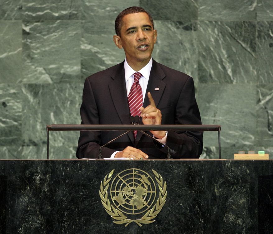U.S. President Barack Obama addresses the 64th session of the United Nations General Assembly, Wednesday, Sept. 23, 2009. (AP Photo/Richard Drew)