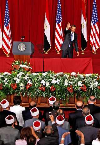 "This June 24, 2009 file photo shows U.S. President Barack Obama waving at the audience, after delivering a speech at Cairo University in Cairo, Egypt. President Barack Obama won the 2009 Nobel Peace Prize on Friday Oct. 9, 2009 for ""his extraordinary efforts to strengthen international diplomacy and cooperation between peoples,"" the Norwegian Nobel Committee said, citing his outreach to the Muslim world and attempts to curb nuclear proliferation. (AP Photo/Nasser Nasser, File)"