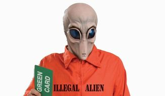 Some groups have taken offense at a costume depicting an illegal alien as a space alien.
