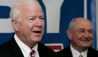 "associated press Sens. Saxby Chambliss (left) of Georgia and Jeff Sessions of Alabama (right) were among the 18 Republicans who voted against the homeland security spending bill. Senate Majority Whip Richard J. Durbin (center) of Illinois joined his fellow Democrats in voting ""yes."""