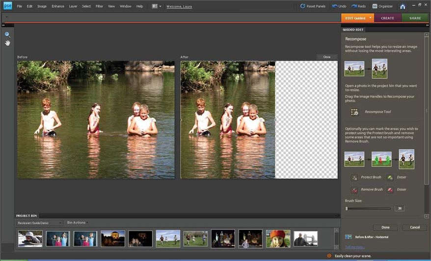 """Adobe's newest version of Photoshop Elements enables users to """"recompose"""" a photo without distorting the remaining subjects in the picture."""