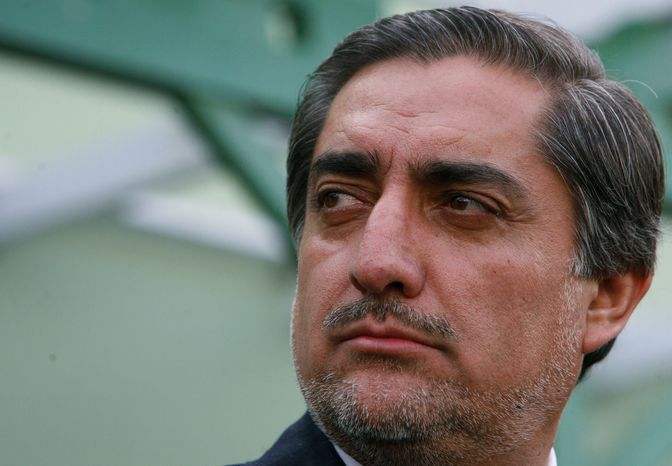 ** FILE ** Former Afghan Foreign Minister Abdullah Abdullah is pictured during a press conference in Kabul, Afghanistan, on Sunday, Nov. 1, 2009, after announcing his decision not to participate in a runoff presidential election. (AP Photo/Musadeq Sadeq)
