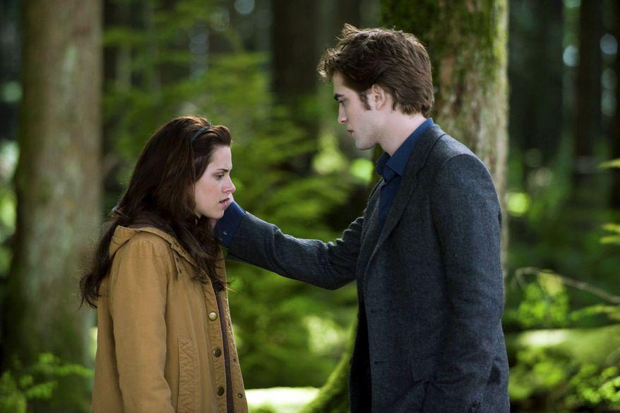 "Kristen Stewart is depressed in ""The Twilight Saga: New Moon"" when her vampire boyfriend, Robert Pattinson, decides he cannot remain with her."
