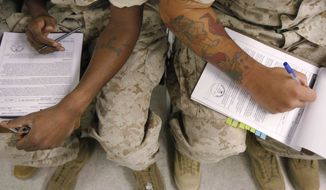 Two U.S. Marines fill out research consent forms before taking psychological tests at the Marine Corps Air Ground Combat Center in Twentynine Palms, Calif., on Sept. 29, 2009. The U.S. government is testing hundreds of Marines and soldiers before they ship out, in search of clues that might help predict who is most susceptible to post-traumatic stress disorder. (Associated Press) ** FILE **