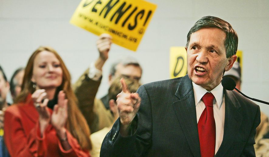 ASSOCIATED PRESS PUSHING PEACE: Rep. Dennis J. Kucinich, Ohio Democrat, joined peace activists in an antiwar rally near the White House.