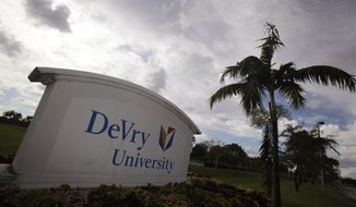 ASSOCIATED PRESS This Nov. 24, 2009 photo, shows the entrance to the DeVry University in Miramar, Fla. Students aren't the only ones benefiting from the billions of new dollars Washington is spending on college aid for the poor. An Associated Press analysis shows surging proportions of both low-income students and the recently boosted government money that follows them are ending up at for-profit schools, from local career colleges to giant publicly traded chains such as the University of Phoenix, Kaplan and Devry.