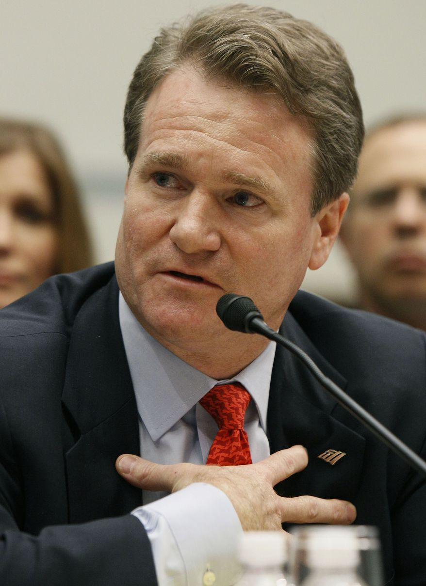 **FILE** In this photo from Nov. 17, 2009, Brian Moynihan, Bank of America's president of consumer and small business banking, testifies on Capitol Hill before the House Oversight and Government Reform Committee hearing on the role of the federal government in the Bank of America-Merrill Lynch merger. (Associated Press)