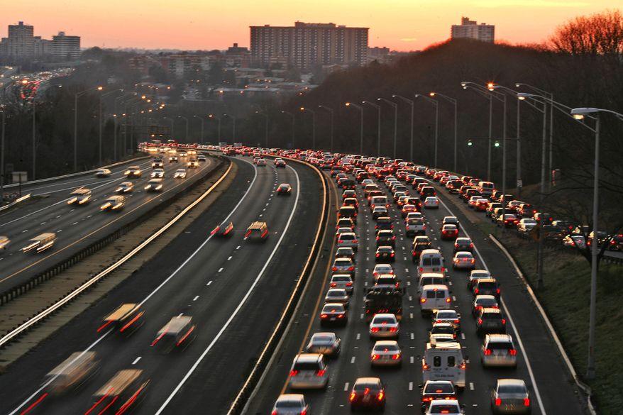**FILE** Washington traffic on Interstate 395 near Seminary Road in Alexandria, Va. (Associated Press)