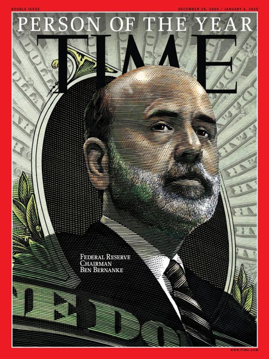 """This photo released by Time Magazine on Wednesday, Dec. 16, 2009, in New York, shows Federal Reserve Chairman Ben Bernanke has been named Time Magazine's """"Person of the Year"""" for 2009. (AP Photo/Time Magazine)"""