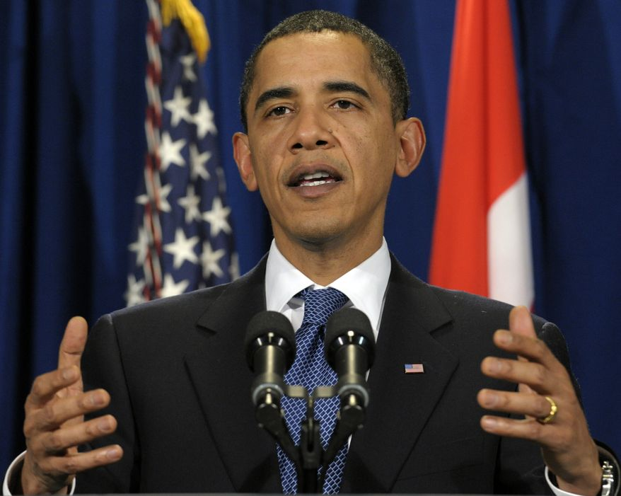 **FILE** President Barack Obama makes a statement at the United Nations Climate Change Conference at the Bella Center in Copenhagen, Denmark, on Dec. 18, 2009. (Associated Press)