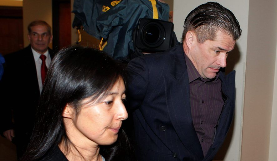 Richard and Mayumi Heene arrive at court for sentencing in Fort Collins, Colo., in connection to charges that they carried out the balloon-boy hoax in October to gain a reality TV show. (Associated Press)