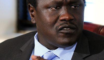** FILE ** Ezekiel Lol Gatkuoth, South Sudan's ambassador in Washington (Barbara L. Salisbury/The Washington Times)