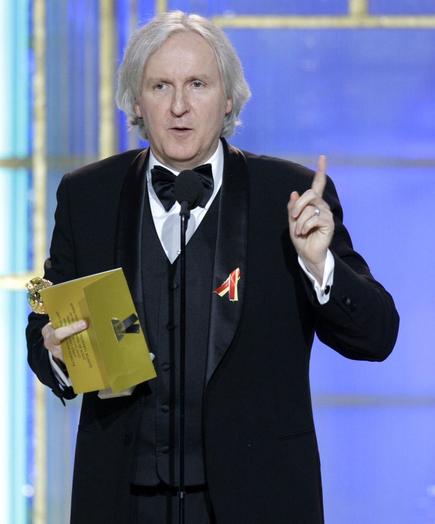 "In this image released by NBC, James Cameron holds the award for best director in a motion picture for ""Avatar"" during the 67th Annual Golden Globe Awards held at the Beverly Hilton Hotel on Sunday in Beverly Hills, Calif. (Associated Press)"