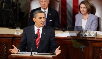"President Obama, chiding the Supreme Court justices sitting before him, claimed falsely during his 2009 State of the Union address that ""even foreign corporations"" could influence U.S. elections. (Associated Press/File)"