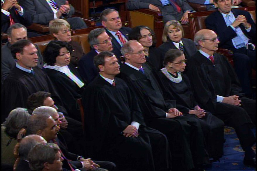 This video image provided by the Network pool shows Supreme Court Justice Samuel Alito, left, and fellow justice watching President Barack Obama's State of the Union Address on Capitol Hill in Washington, Wednesday, Jan. 27, 2010. From left are, Alito, Justice Sonia Sotomayor, Chief Justice John Roberts, Justice Anthony Kennedy, Justice Ruth Bader Ginsburg, and Justice Stephen Breyer. (AP Photo/Network Pool)